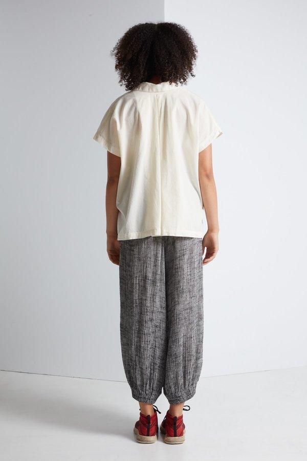 Black Crane Box Shirt in Cream