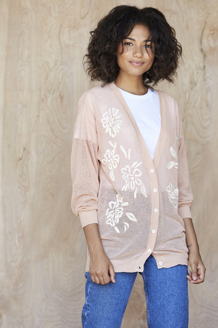 Callahan Embroidered Floral Cardigan - Peach
