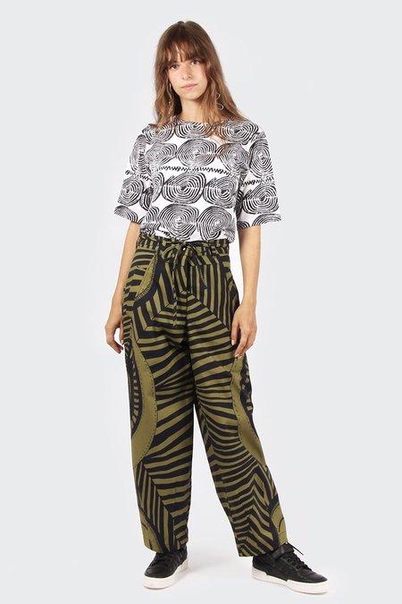 VERNER X Lisa Waup Tulip Pants - black/green