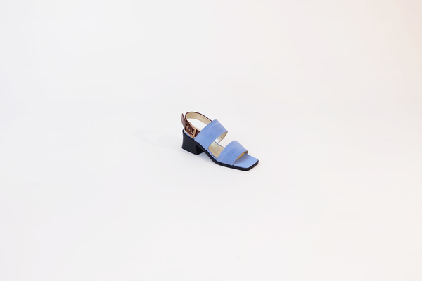 Suzanne Rae Sandal W/ Welt Sole in Blue With Brown Patent