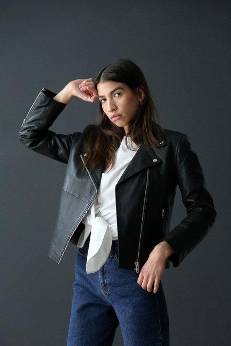 Just Female Damindra Leather Jacket - Black
