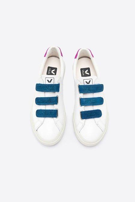 Veja Esplar Leather Shoes - 3 Locks White Glitter