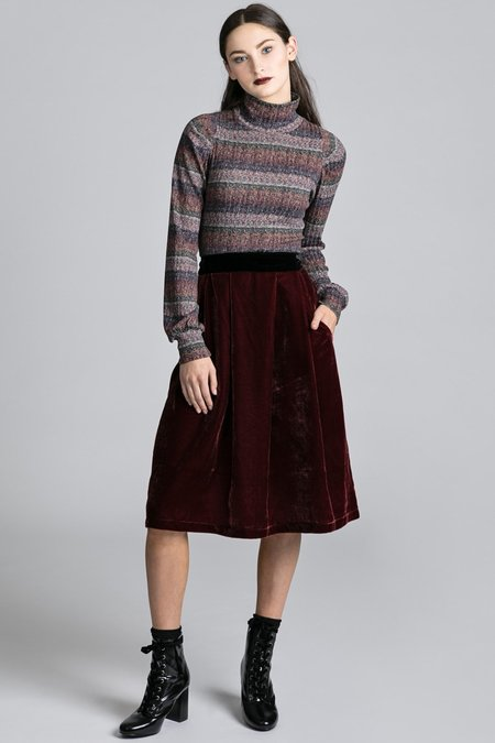 Allison Wonderland Cross Skirt - Burgundy Velvet