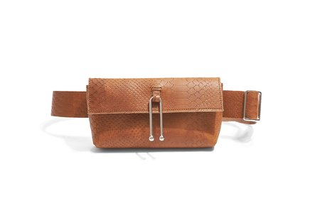 Sonya Lee Jess Belt Bag - Snake Embossed Rust Leather