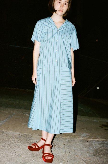 CARLEEN Pocket Skirt in Blue Stripe