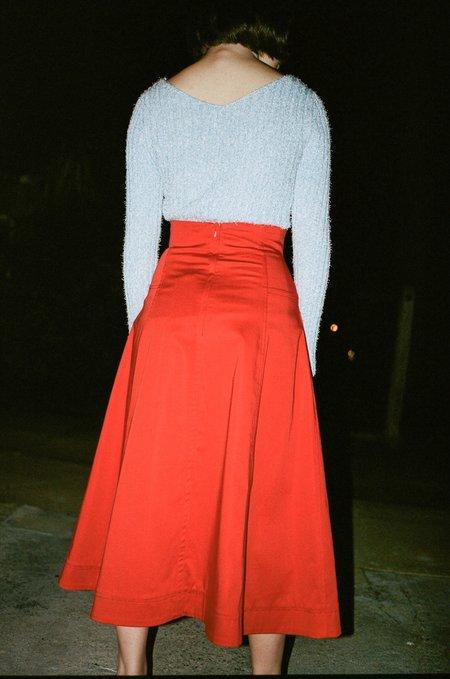 Sayaka Davis Front Lace Up Skirt in Orange Red