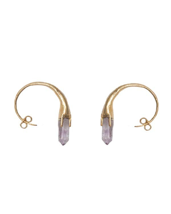 Unearthen Gold Eye Crown Earrings with Sapphire and Amethyst