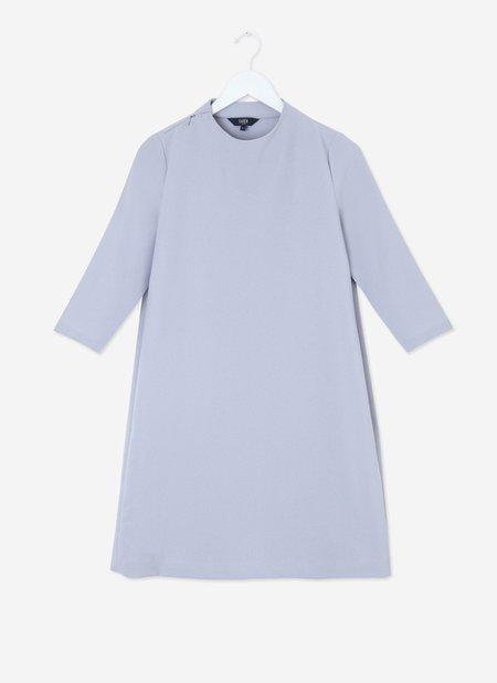 Pure 3/4 Sleeve Mockneck Dress Taro-Grey