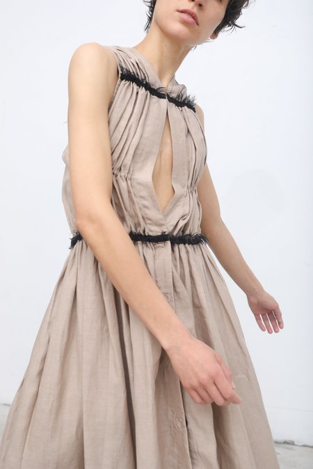 Yulia Kondranina Gathered Dress with Contrast Open Back in Sand/Black