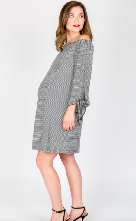 NOM Octavia Dress Black/White Stripe