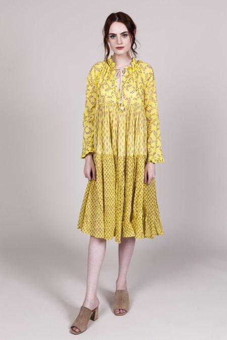 Yvonne S Short to Knee Hippy Dress - Yellow