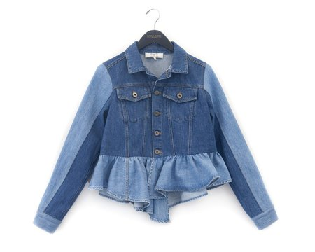 SEA The Two-Tone Novelty Denim Peplum Jacket
