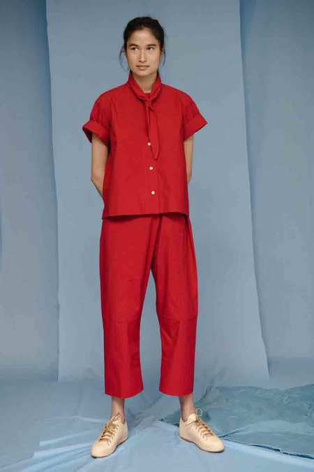 Caron Callahan FIONA PANT W/ EMBROIDERY in Red Poplin