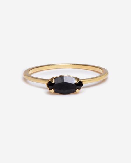 Bing Bang NYC East West Marquis Ring - Yellow Gold/Black Swarovski
