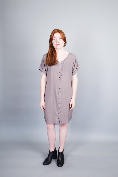 Sara Duke Your Favourite Shirt Snap Dress - Taupe