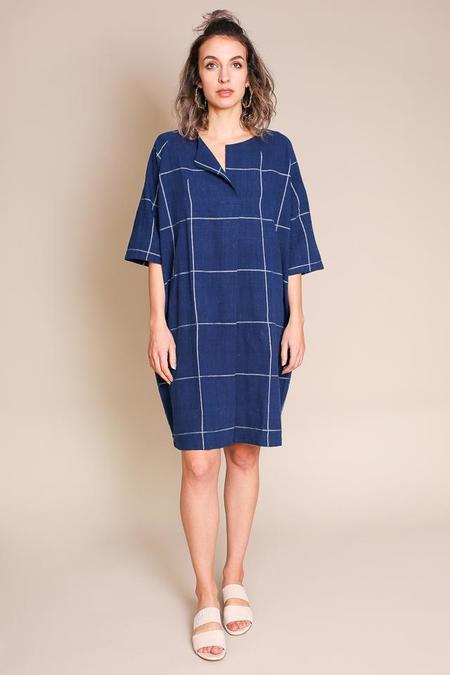 Umber & Ochre Raglan Caftan Dress in Indigo Bold Check