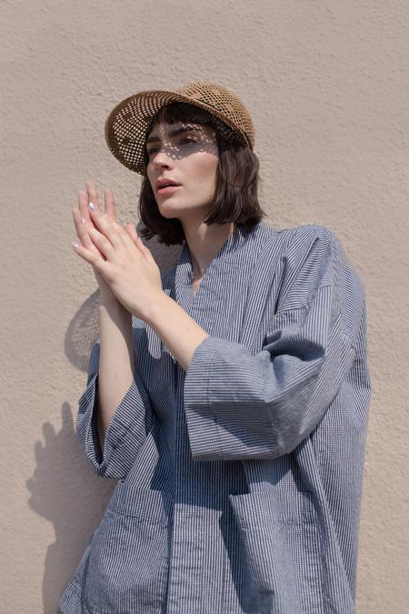 Micaela Greg Sac Jacket in Blue/White Check