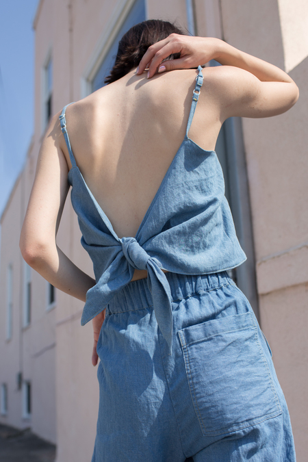Micaela Greg Tie Tank in Sun Fade Wash