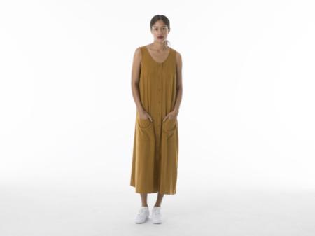 Ali Golden Button Down Tank Midi Dress in Mustard
