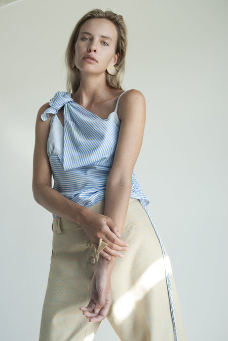 KM By Lange Striped Blue Deconstructed Top