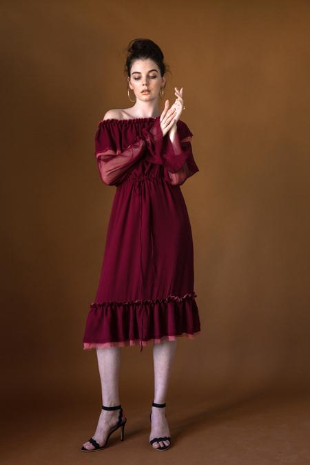 Arteaga Chiffon Chandra Dress - Tibetan Red