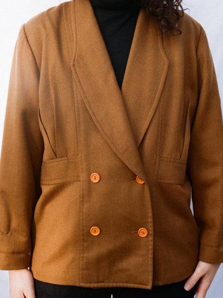 Vintage Casia Double Button Coat - Brown