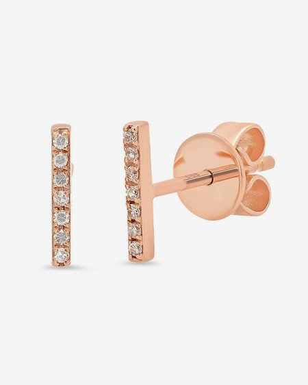 Seldom Seen 14k Rose Gold Pave Bar Studs with White Diamonds