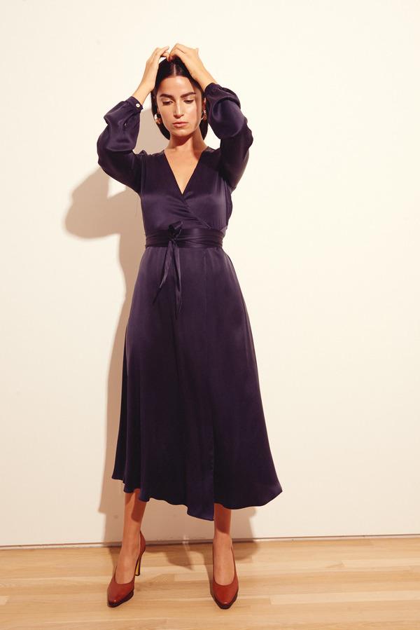 Kamperett Linden Midi Dress in Navy