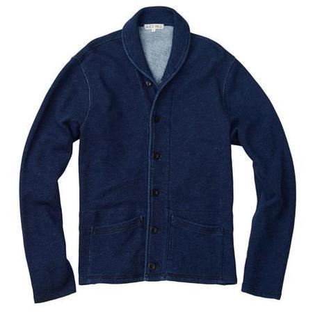 Alex Mill French Terry Indigo Shawl Neck Jacket
