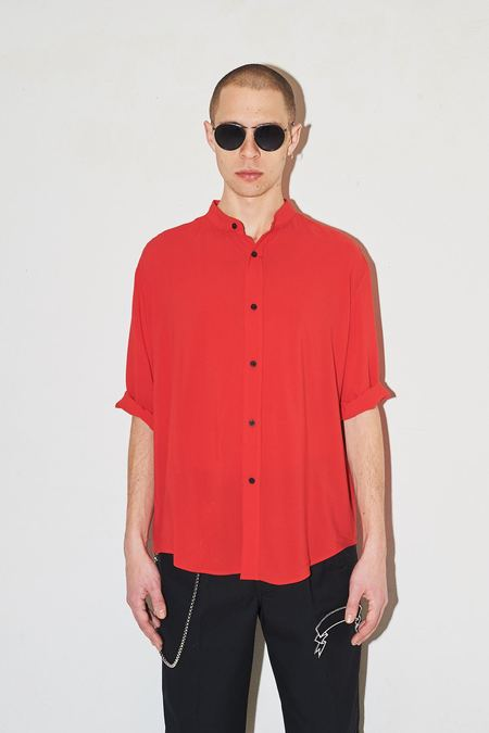 Assembly New York Cotton Non Collar Shirt - Red