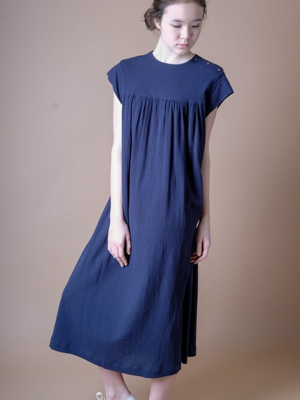 Sunja Link GATHERED YOKE DRESS IN NAVY