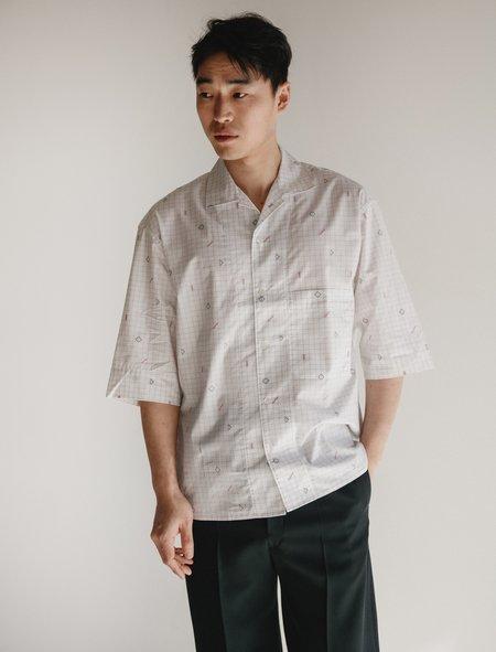 Lemaire Convertible Collar Shirt - Jacquard Grid