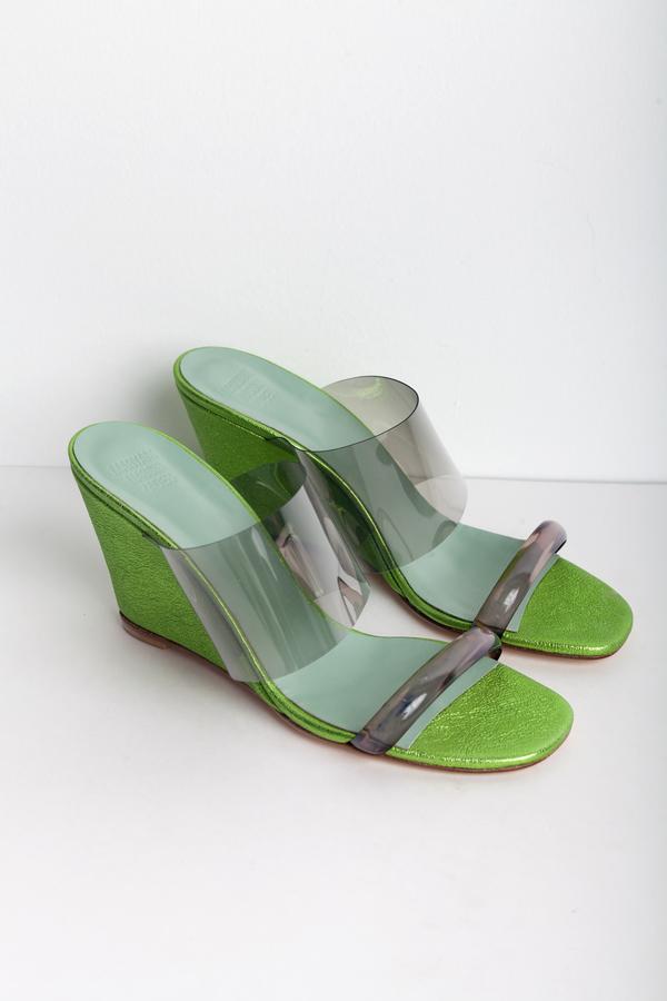 Maryam Nassir Zadeh Olympia Wedge in Metallic Lime Crinkle