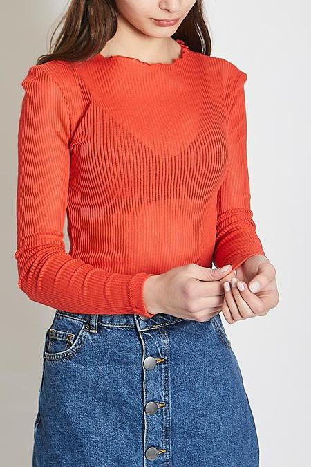 Just Female Ane Neck Blouse - Aurora Red