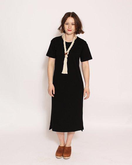 Ali Golden Drop Sleeve T-Shirt Dress in Black