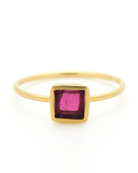 Pippa Small Ring - Tiny Square Pink Tourmaline and Gold