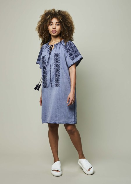 Rose and Rose Amos Embroidered Dress - Chambray/Navy