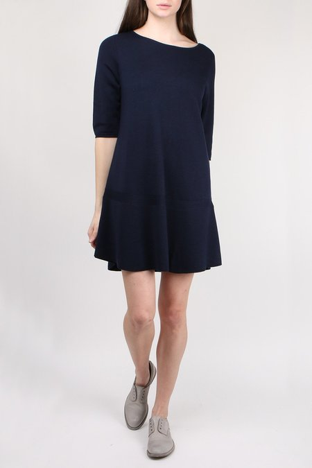 Allude Boatneck 3/4 Sleeve Dress