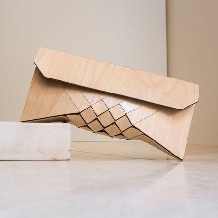 Tesler Mendelovitch Creme Wooden Clutch