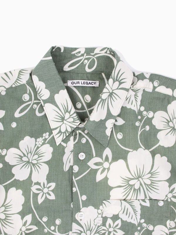 Our Legacy Initial Short Sleeve Shirt Green Hibiscus
