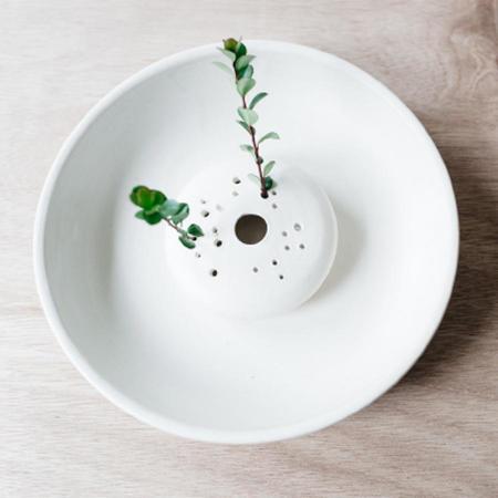Notary Ceramics Ikebana Bowl - Matte White
