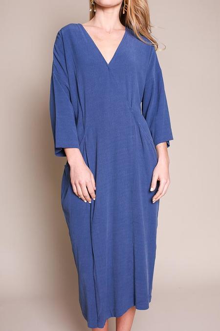 7115 by Szeki Midi Wrap Dress in Blue