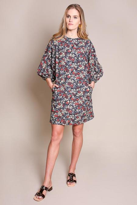 No.6 3/4 Balloon Dress in Large Cherry London Floral