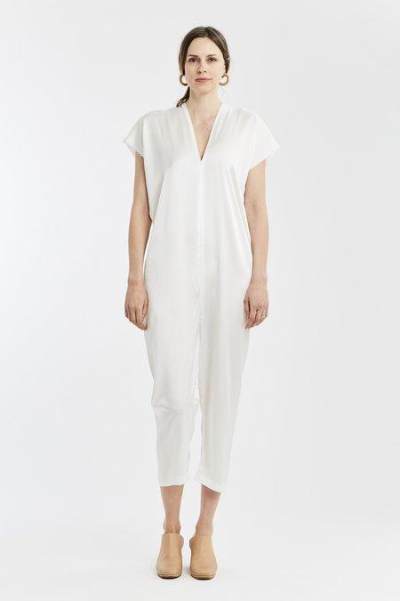 Miranda Bennett Extended Everyday Jumpsuit Silk Charmeuse in White