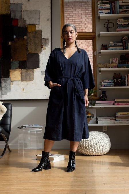 Sunja Link Patch Pocket Pullover Dress - Navy
