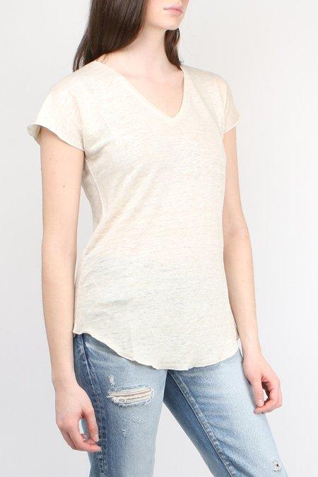Cathrine Hammel Linen V-Neck Tee - Off White Melange