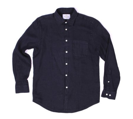 Portuguese Flannel Linen Long Sleeve Shirt - Dark Blue