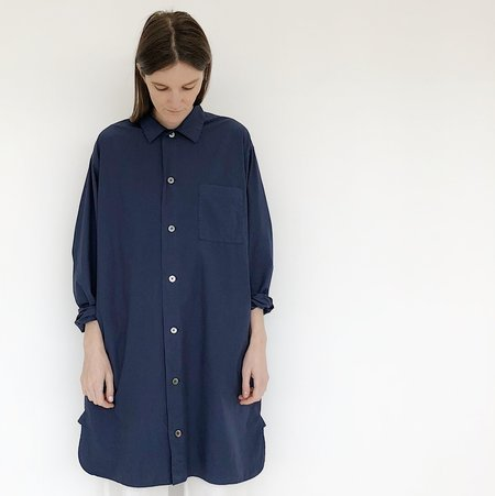 Tanaka Navy Long Button Down Shirt