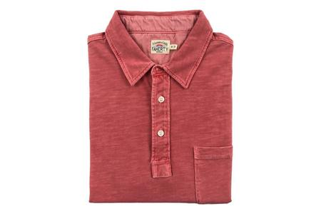 Faherty Brand Sunwashed Polo - Faded Red