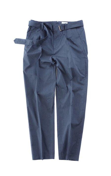 Still By Hand Melange Face Belted Pants - Blue